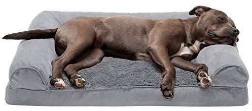 Furhaven Pet   Packable Travel Bed  Plush Orthopedic Sofa  l Shaped Chaise Couch    Mid Century Modern Dog Bed Frame