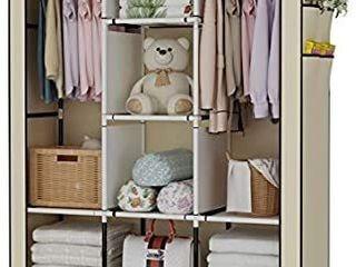 UDEAR Portable Wardrobe Closet Clothes Organizer No Woven Fabric Cover with 6 Storage Shelves