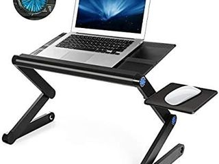 Ultra large Adjustable laptop Stand  Portable laptop Table with Big Movable CPU Cooling Fan for 17 Inch Computer  Foldable Ergonomic lap Tray Holder for Bed  Sofa  Chair  Floor  Tray Size  19  Black