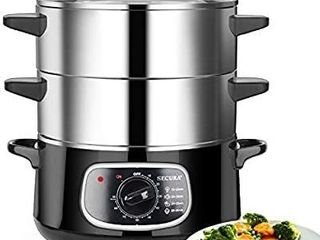 Secura 2 Stainless Steel Food Steamer 8 5 Qt Electric Glass lid Vegetable Steamer Double Tiered Stackable Baskets with Timer