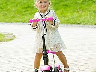 Hikole Scooter for Kids  lights Up Scooters for Toddlers Girls   Boys  Removable Seat   Adjustable Height  Design for Children Ages 2 8