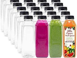 16 OZ Empty PET Plastic Juice Bottles   Pack of 35 Reusable Clear Disposable Milk Bulk Containers with Black Tamper Evident Caps lids