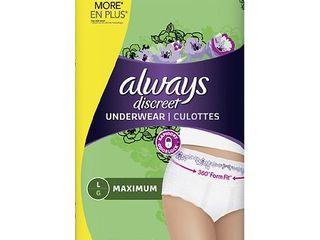 Always Discreet Incontinence Underwear   Maximum Absorbency   l   28ct