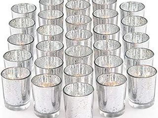 Speckled Mercury Silver Glass Candle Holder Bulk   Ideal for Wedding Centerpieces   Home Decor box of 18