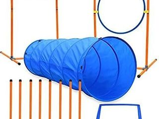 XiaZ Dog Agility Course Equipments  Obstacle Agility Training Starter Kit for Doggie  Pet Outdoor Games   Dog Tunnels  8 Piece Weave Poles  Jumping Ring  High Jumps  Pause Box