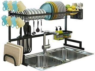 Over the Sink Dish Drying Rack  Drainer Shelf for Kitchen Supplies Storage  Counter Organizer  Utensils Holder  2 Tier for Kitchen Countertop  Rustless Stainless Steel  Space Saver Stand  Black
