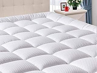 DOMICARE Queen Mattress Pad Cover with Deep Pocket  8 21Inch  Cooling Mattress Topper Cotton Pillow Top  Down Alternative Fill