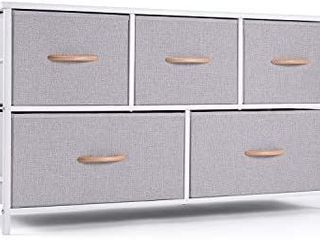 ROMOON Dresser Organizer with 5 Drawers  Fabric Storage Drawer Unit  Dresser Tower for Bedroom  Hallway  Entryway  Closets  Nurseries   Gray