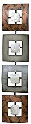 WHW Whole House Worlds Modernist Floating Squares  Rectangle Metal Wall Art  Artisan Crafted  Polished Shell Insets  Painted Iron  Over 2 Ft long  Abstract Geometric Plaque