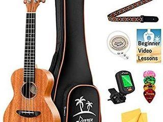 Donner Concert Ukulele Mahogany 23 Inch Ukelele Starter Bundle Kit with Gig Bag Strap Nylon String Tuner Picks Cloth DUC 1