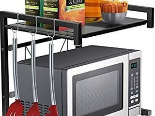 Sorbus Microwave Oven Rack Shelf Stand with Hooks  Expandable Adjustable Kitchen Countertop Storage Organizer  Space saver