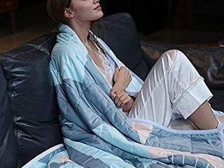 Zonli Minky Weighted Blanket 15 lbs 60 x80  Geometry Wathet  Queen Size Weighted Blanket
