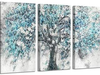 Abstract Tree Canvas Wall Art  Silver Foil Blooming Tree Artwork Painting Picture on Canvas