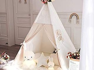 TreeBud Kids Teepee Tent  Children Indian Play Tent with Window   Carry Case  100  Cotton Canvas and Chiffon Fabric Tent   Pine Wood Poles for Indoor   Outdoor Room Decor