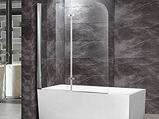 TONYRENA Frameless Bi Fold Tub Door  48  Width x 58 Height