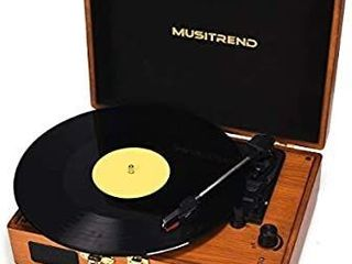 Musitrend Record Player Vinyl Turntable 3 Speed Vintage Record Players with Stereo Speaker