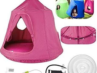 Hanging Tree Tent Pink Hanging Tree Tent for Kids 46 H x 43 4 Diam Hanging Tree House Tent Waterproof Portable Indoor or Outdoor Use with led Decoration lights