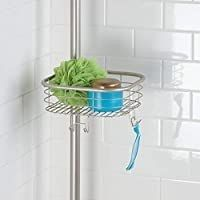 mDesign Metal Bathroom Shower Storage Constant Tension Pole Caddy   Adjustable Height   4 Positionable Baskets   for Organizing and Containing Hand Soap  Body Wash  Wash Cloths  Razors   Satin