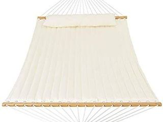 Patio Watcher 11 Feet Quilted Fabric Hammock with Pillow Double 2 Person Hammock with Bamboo Spreader Bars  Perfect for Outdoor Patio Yard White