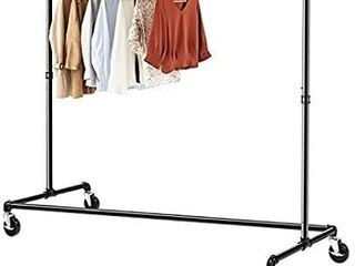 Greenstell Z Base Garment Rack  Industrial Pipe Style Clothes Rack on Wheels with Brakes  Commercial Grade Heavy Duty Z Clothing Rolling Coat Rack Black  1 Pack