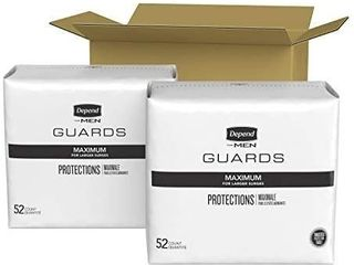 Depend Incontinence Guards Bladder Control Pads for Men  Maximum Absorbency  104 Count  2 Packs of 52   Packaging May Vary