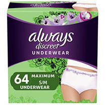 Always Discreet Incontinence Max Protection Underwear  SM MED  64 ct