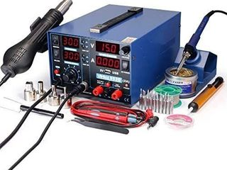YIHUA 853D 2A USB SMD Hot Air Rework Soldering Iron Station  DC Power Supply 0 15V 0 2A with 5V USB Charging Port and 35 Volt DC Voltage Test Meter