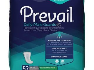 Prevail Male Guards  Maximum Absorbency  Incontinence Pads  One Size  52 Count