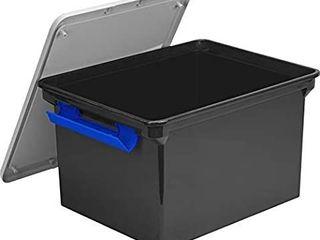 Storex Storage File Tote with locking Handles  Black Silver