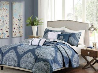 Audra large Medallion Reversible Quilted Coverlet Set  Full Queen  Navy   6pc