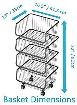 Rolling Stackable Wire Baskets Metal Utility Cart Storage Floor Standing Storage Bins Fruit Vegetable Snacks Pantry Organizer with wheels for Kitchen Bathroom  4 Tier Basket Set