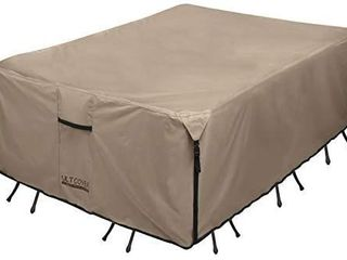 UlTCOVER Rectangular Patio Heavy Duty Table Cover   600D Tough Canvas Waterproof Outdoor Dining Table and Chairs General Purpose Furniture Cover Size 88l x 62W x 28H inch