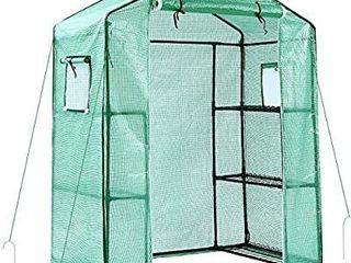 Ohuhu Greenhouse for Outdoors with Observation Windows New Version  Small Walk in 3 Tiers 6 Shelves Stands Plant Green House for Seedling  Flowers  Plant Growing  4 7 x 2 4 x 6 4 FT