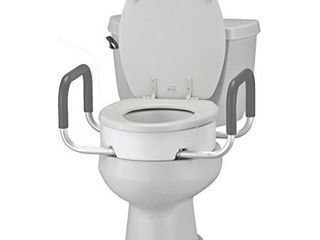 NOVA Medical Products Toilet Seat Riser with Arms  Elongated  White  3 8 Pound