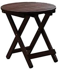 B Z KD 41N Adirondack Round Portable Outdoor Folding Side Table Rustic Brown