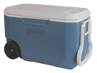 Coleman 62 Quart Wheeled Cooler  Blue White