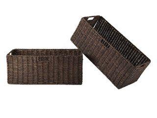Granville Set of 2 Foldable Corn Husk Baskets  large  Brown