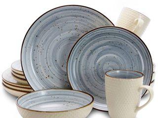 Elama Mellow 16 Piece Dinnerware Set in Powder Blue