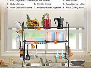 WeluvFit Over The Sink Dish Drying Rack  2 Tier large Stainless Steel Non Slip Dish Drying Rack with Utensil Holder Hooks for Kitchen Counter