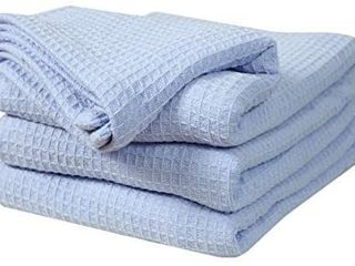 100  Soft Premium Ringspun Cotton Thermal Blanket   King   Blue   Snuggle in These Super Soft Cozy Cotton Blankets   Perfect for layering Any Bed   Provides Comfort and Warmth for Years