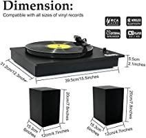 Bluetooth Vinyl Record Player with Powerful External Speakers  Nostalgic Turntable for 33a 45 RPM Record with Adjustable Counter Weight Wireless Connection