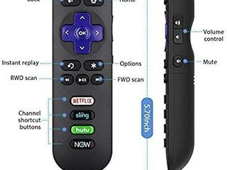 Replacement RC280 RC282 Remote for TCl Roku Smart lED TV with Buttons for Netflix  Sling  Hulu  and DirecTV Now