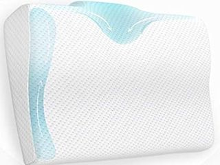 BODESY Contour Memory Foam Bed Pillow for Sleeping  Orthopedic Pillow for Neck and Shoulder Pain a Neck Pillow for Side Sleepers  Back and Stomach Sleepers  Cervical Pillow for Neck Pain