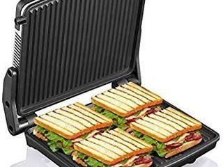 Panini Press Grill  Yabano Gourmet Sandwich Maker Non Stick Coated Plates 11  x 9 8  Opens 180 Degrees