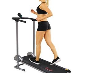 Sunny Health Fitness Foldable Manual Compact Treadmill with lCD Monitor  220 lb Max Weight