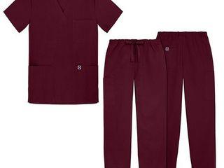 Sivvan Unisex Classic Scrub Set V Neck Top Drawstring Pants   S8400   Burgundy   4X