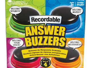 learning Resources Recordable Answer Buzzers  Personalized Sound Buzzers  Talking Button  Set of 4  Ages 3