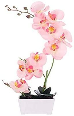 bonahanlong Orchid Flower Plant Artificial Arrangements Fake Pink quill Plant Silk Orchid Flower 11 Heads with Vase