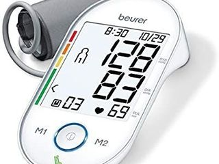 Beurer Upper Arm Blood Pressure Monitor and Cuff  Multi Users  Fully Automatic  Illuminated Xl Display  Irregular Heartbeat   Hypertension Detector  Resting Indicator Patent Technology  Portable  BM55