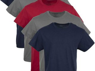 Gildan Men s Crew T Shirt Multipack  Navy  charcoal  cardinal Red Assorted 5 Pack  Medium